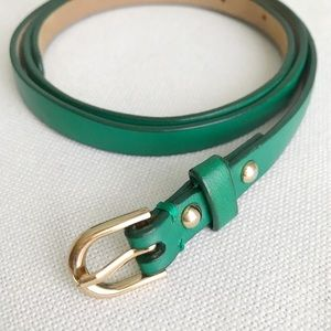 ANN TAYLOR Skinny Emerald Green Leather Belt S